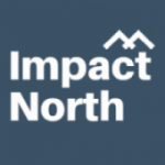Logo for Impact North. White letters on blue/grey background.