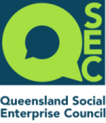 Logo for Queensland Social Enterprise Council. Lime green writing on dark blue background.